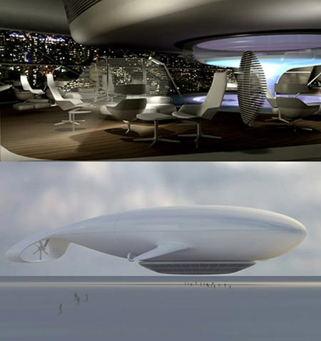 """Manned Cloud"" - a luxury airship/hotel, able to accommodate 60 passengers, proposed by French designer Jean-Marie Massaud.  It is being currently being developed and could accommodate travelers on a 3 day cruise around the world."