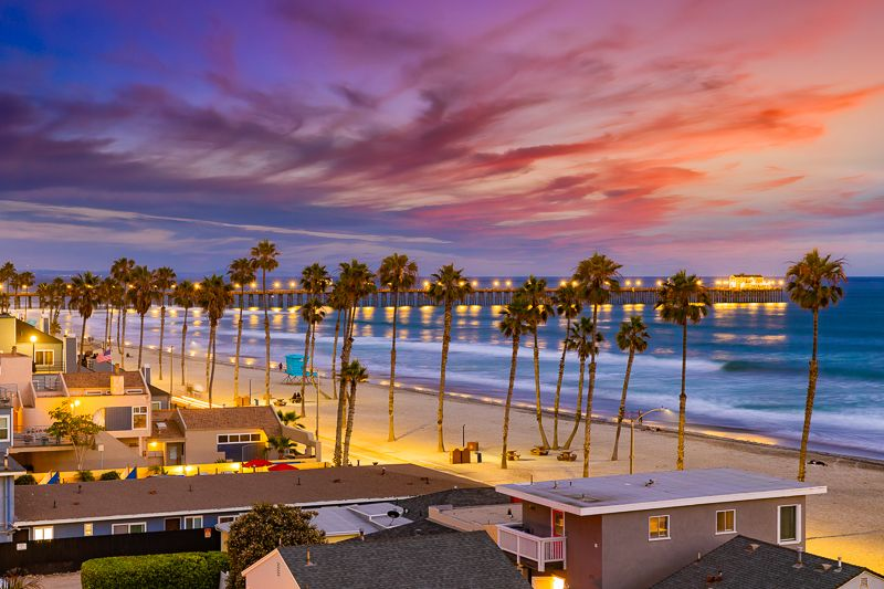 Palm Tree Beaches of Oceanside CA