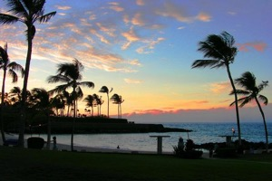 Waikoloa Beach House Rentals, Sunset at Mauna Lani beach